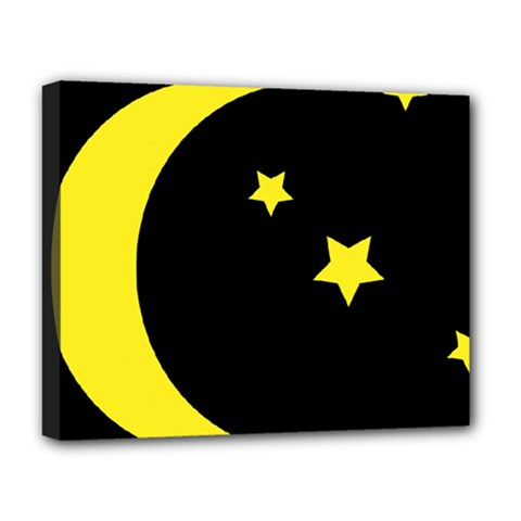 Moon Star Light Black Night Yellow Deluxe Canvas 20  X 16