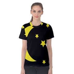 Moon Star Light Black Night Yellow Women s Cotton Tee by Alisyart