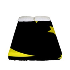 Moon Star Light Black Night Yellow Fitted Sheet (full/ Double Size) by Alisyart