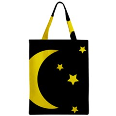 Moon Star Light Black Night Yellow Zipper Classic Tote Bag