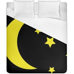 Moon Star Light Black Night Yellow Duvet Cover (california King Size) by Alisyart