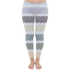 Muted Lace Ribbon Original Grey Purple Pink Wave Classic Winter Leggings