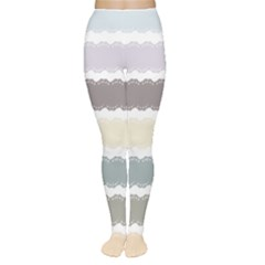 Muted Lace Ribbon Original Grey Purple Pink Wave Women s Tights