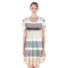 Muted Lace Ribbon Original Grey Purple Pink Wave Short Sleeve V Neck Flare Dress
