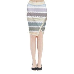 Muted Lace Ribbon Original Grey Purple Pink Wave Midi Wrap Pencil Skirt by Alisyart