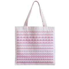 Pink Lace Borders Pink Floral Flower Love Heart Grocery Tote Bag by Alisyart