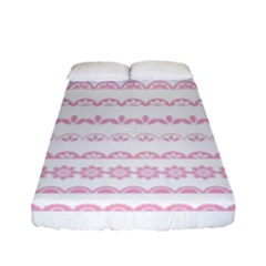 Pink Lace Borders Pink Floral Flower Love Heart Fitted Sheet (full/ Double Size)