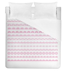 Pink Lace Borders Pink Floral Flower Love Heart Duvet Cover (queen Size) by Alisyart