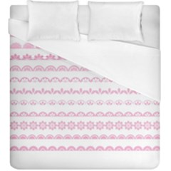 Pink Lace Borders Pink Floral Flower Love Heart Duvet Cover (king Size) by Alisyart