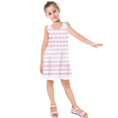 Pink Lace Borders Pink Floral Flower Love Heart Kids  Sleeveless Dress by Alisyart
