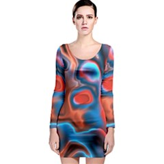Abstract Fractal Long Sleeve Bodycon Dress