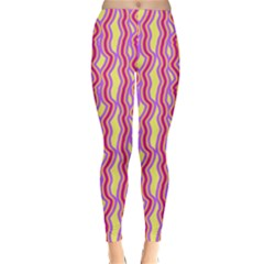 Pink Yelllow Line Light Purple Vertical Classic Winter Leggings