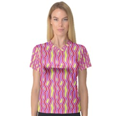 Pink Yelllow Line Light Purple Vertical Women s V Neck Sport Mesh Tee by Alisyart