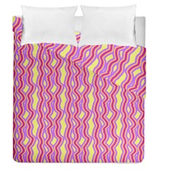 Pink Yelllow Line Light Purple Vertical Duvet Cover Double Side (queen Size)