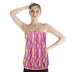 Pink Yelllow Line Light Purple Vertical Strapless Top
