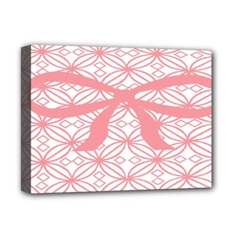Pink Plaid Circle Deluxe Canvas 16  X 12