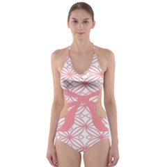 Pink Plaid Circle Cut Out One Piece Swimsuit