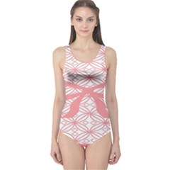 Pink Plaid Circle One Piece Swimsuit by Alisyart