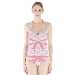 Pink Plaid Circle Halter Swimsuit by Alisyart