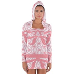 Pink Plaid Circle Women s Long Sleeve Hooded T Shirt