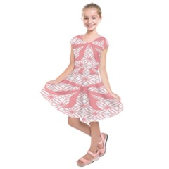 Pink Plaid Circle Kids  Short Sleeve Dress by Alisyart