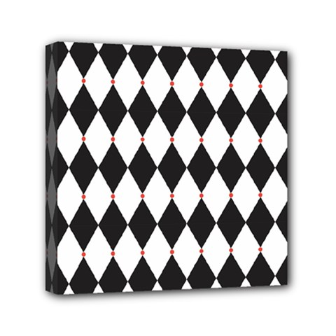 Plaid Triangle Line Wave Chevron Black White Red Beauty Argyle Mini Canvas 6  X 6  by Alisyart
