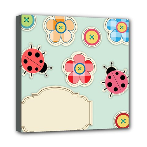 Buttons & Ladybugs Cute Mini Canvas 8  X 8