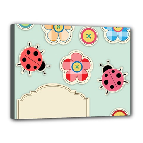 Buttons & Ladybugs Cute Canvas 16  X 12  by Simbadda