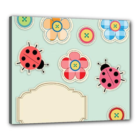 Buttons & Ladybugs Cute Canvas 24  X 20  by Simbadda
