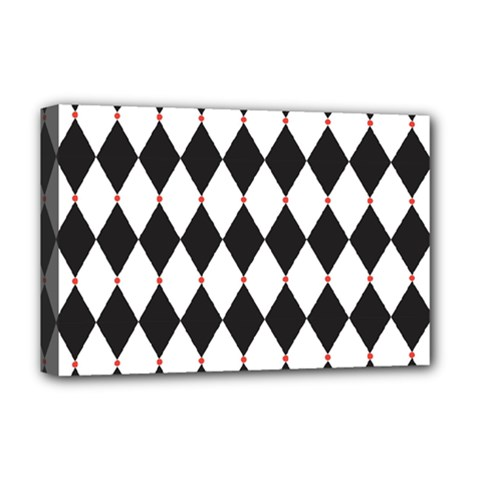 Plaid Triangle Line Wave Chevron Black White Red Beauty Argyle Deluxe Canvas 18  X 12   by Alisyart