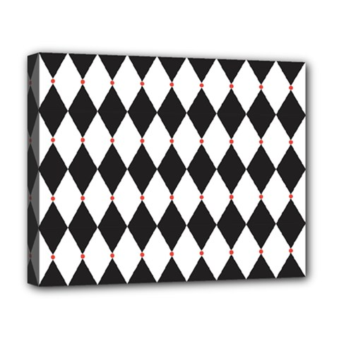 Plaid Triangle Line Wave Chevron Black White Red Beauty Argyle Deluxe Canvas 20  X 16   by Alisyart