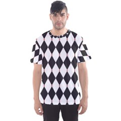 Plaid Triangle Line Wave Chevron Black White Red Beauty Argyle Men s Sport Mesh Tee by Alisyart
