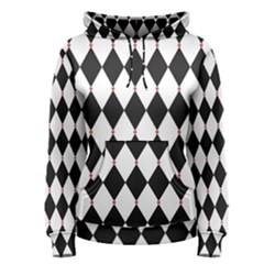 Plaid Triangle Line Wave Chevron Black White Red Beauty Argyle Women s Pullover Hoodie