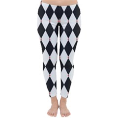 Plaid Triangle Line Wave Chevron Black White Red Beauty Argyle Classic Winter Leggings