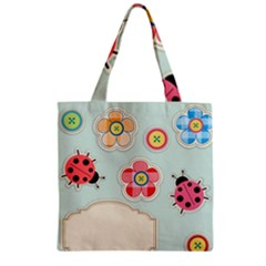 Buttons & Ladybugs Cute Zipper Grocery Tote Bag by Simbadda