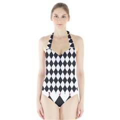 Plaid Triangle Line Wave Chevron Black White Red Beauty Argyle Halter Swimsuit by Alisyart