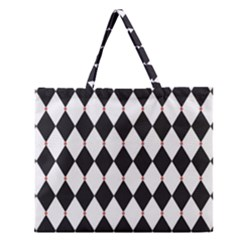 Plaid Triangle Line Wave Chevron Black White Red Beauty Argyle Zipper Large Tote Bag by Alisyart