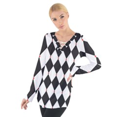 Plaid Triangle Line Wave Chevron Black White Red Beauty Argyle Women s Tie Up Tee by Alisyart