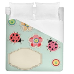 Buttons & Ladybugs Cute Duvet Cover (queen Size) by Simbadda