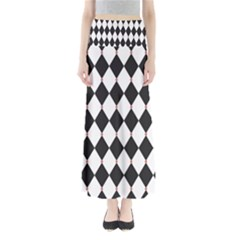 Plaid Triangle Line Wave Chevron Black White Red Beauty Argyle Maxi Skirts by Alisyart