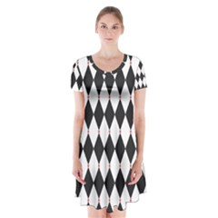 Plaid Triangle Line Wave Chevron Black White Red Beauty Argyle Short Sleeve V-neck Flare Dress by Alisyart