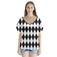Plaid Triangle Line Wave Chevron Black White Red Beauty Argyle Flutter Sleeve Top
