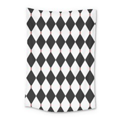 Plaid Triangle Line Wave Chevron Black White Red Beauty Argyle Small Tapestry