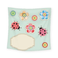 Buttons & Ladybugs Cute Square Tapestry (small)