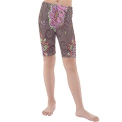 Ice Cream Flower Floral Rose Sunflower Leaf Star Brown Kids  Mid Length Swim Shorts by Alisyart