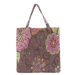 Ice Cream Flower Floral Rose Sunflower Leaf Star Brown Grocery Tote Bag by Alisyart