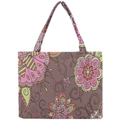Ice Cream Flower Floral Rose Sunflower Leaf Star Brown Mini Tote Bag