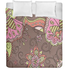 Ice Cream Flower Floral Rose Sunflower Leaf Star Brown Duvet Cover Double Side (california King Size)