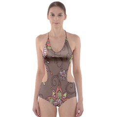 Ice Cream Flower Floral Rose Sunflower Leaf Star Brown Cut Out One Piece Swimsuit