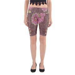 Ice Cream Flower Floral Rose Sunflower Leaf Star Brown Yoga Cropped Leggings by Alisyart